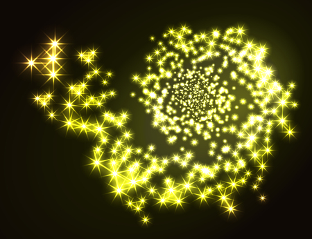 Glowing galaxy on black background. Ilustracja