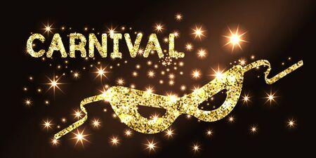 Golden carnival mask on black background.