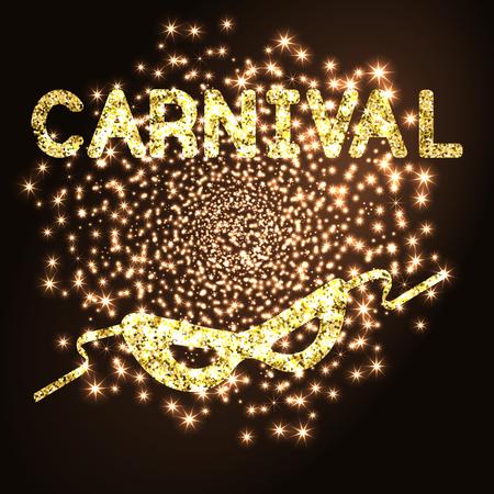 purim carnival party: Golden carnival mask on black background.