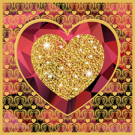 Valentine's day card with heart . Golden hearte on low poly background. Vector background Ilustração