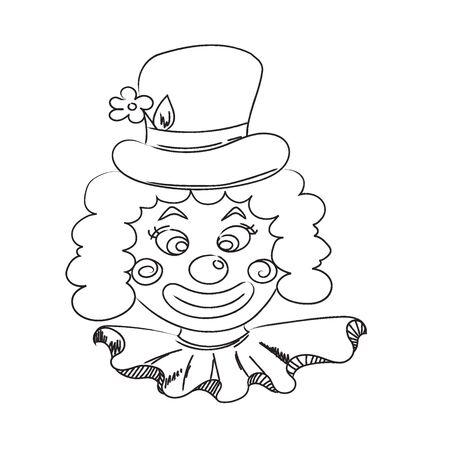 Hand drawn clown. Sketch. Ilustração