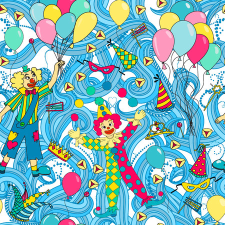 purim carnival: Purim Jewish holiday seamless pattern. Colorful background with clowns, balloons, carnival masks and hats,  candy and  traditional  cookies. Vector illustration.