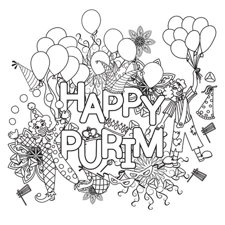 festiva: Hand drawn background for Jewish holiday Purim doodles elements. Happy Purim. Vector illustration.