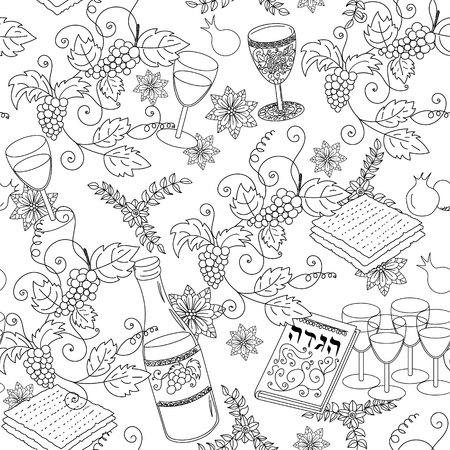 Passover seamless pattern background. Jewish holiday Passover symbols. Black and white background. Vector illustration Illustration