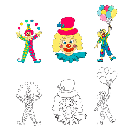 purim carnival party: Hand drawn clown collection. Vector illustration. Illustration