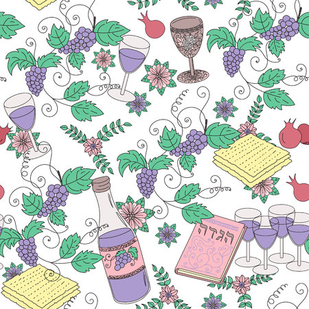 matza: Passover seamless patten background. Jewish holiday Passover symbols. Vector illustration Illustration