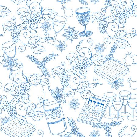matzah: Passover seamless patten background. Jewish holiday Passover symbols. Vector illustration Illustration