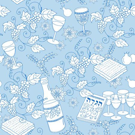 patten: Passover seamless patten background. Jewish holiday Passover symbols. Vector illustration Illustration