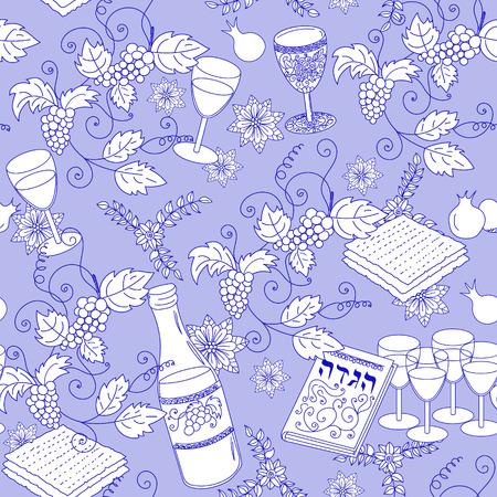 pesach: Passover seamless patten background. Jewish holiday Passover symbols. Vector illustration Illustration