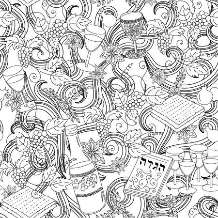 Passover seamless patten background. Jewish holiday Passover symbols. Vector illustration Illustration