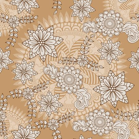 Abstract floral pattern element in Indian mehndi style. Seamless pattern can be used for wallpaper, pattern fills, textile, fabric, wrapping, surface textures for design