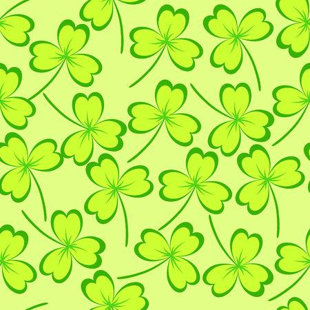 seamless clover: St. Patricks day background. Clover leaves on green background. Seamless pattern. Vector illustration. Illustration
