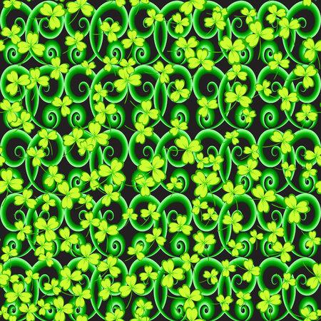 darck: St. Patricks day background. Clover leaves on black background. Green color seamless pattern. Vector illustration. Illustration