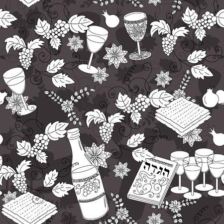 matzot: Passover seamless patten background. Jewish holiday Passover symbols. Vector illustration Illustration
