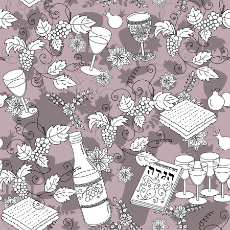 seder: Passover seamless pattern background. Jewish holiday Passover symbols. Vector illustration Illustration