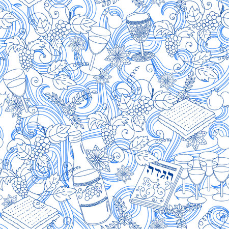 holiday background: Passover seamless patten background. Jewish holiday Passover symbols. Vector illustration Illustration