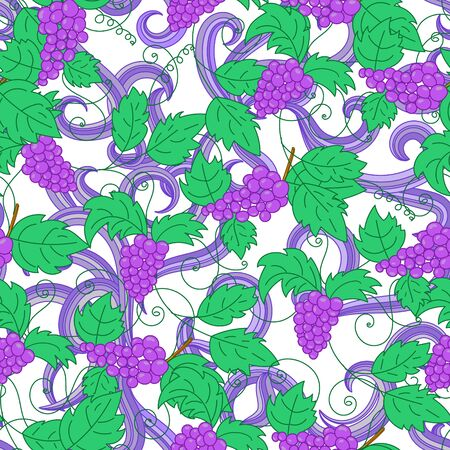 clamber: Hand drawn grapes seamless pattern background. Vector illustration.