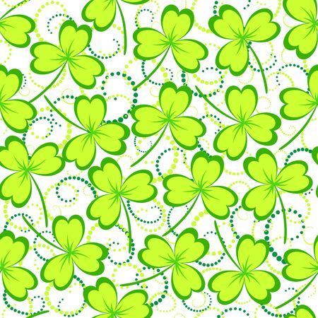 seamless clover: St. Patricks day background. Green clover leaves on white background. Seamless pattern. Vector illustration.