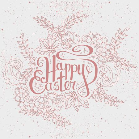 isoleted: Happy Easter card. Easter holiday background. Hand drawn lettring. Isoleted on white background.  Vector illustration