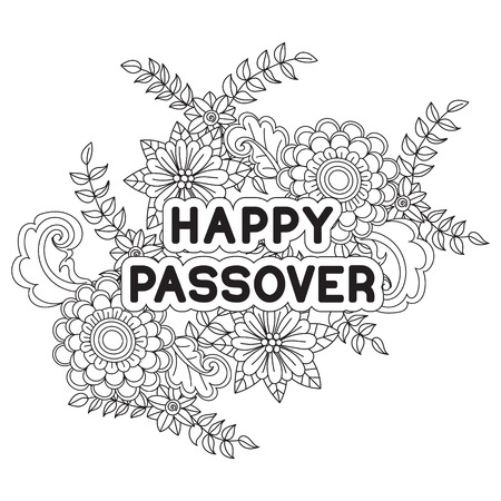 Happy Passover. Background, greeting card, coloring page. Hand drawn flowers on white background. Isolated on white. Vector illustration.