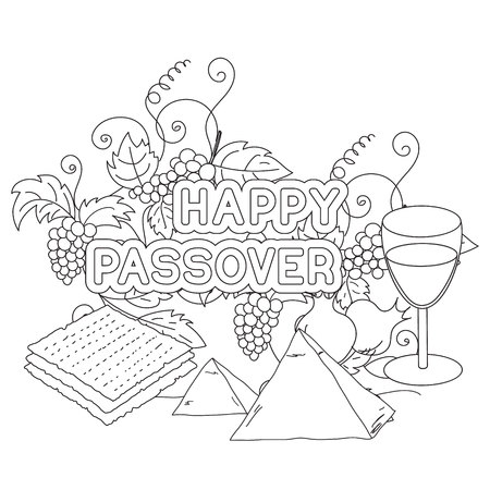 matzo: Happy Passover. Greeting card, coloring page. Hand drawn elements on white background. Isolated on white. Vector illustration.