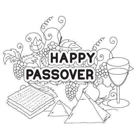 matzah: Happy Passover. Greeting card, coloring page. Hand drawn elements on white background. Isolated on white. Vector illustration.