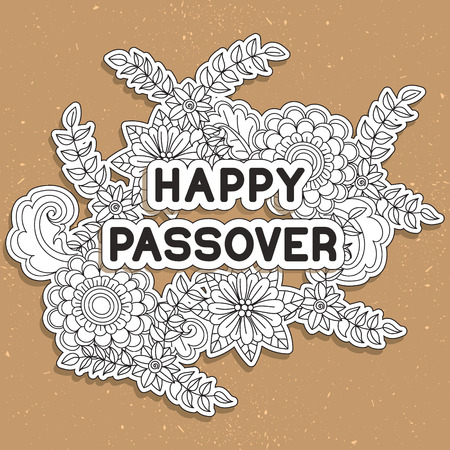 pesach: Happy Passover. Greeting card. Hand drawn white paper flowers on golden background. Vector illustration.