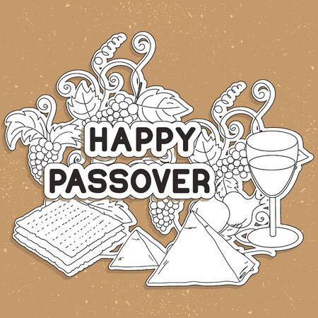 matzah: Happy Passover. Greeting card. Hand drawn elements on gold background.  Vector illustration. Illustration