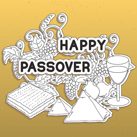 matzot: Happy Passover. Greeting card. Hand drawn elements on gold background.  Vector illustration. Illustration