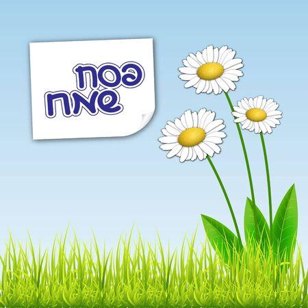 passover: Happy Passover background. Spring bavkground. Happy Passover in Hebrew. Vector illustration
