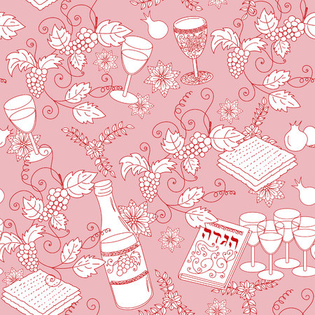 holiday background: Passover seamless pattern background. Jewish holiday Passover symbols. Vector illustration Illustration