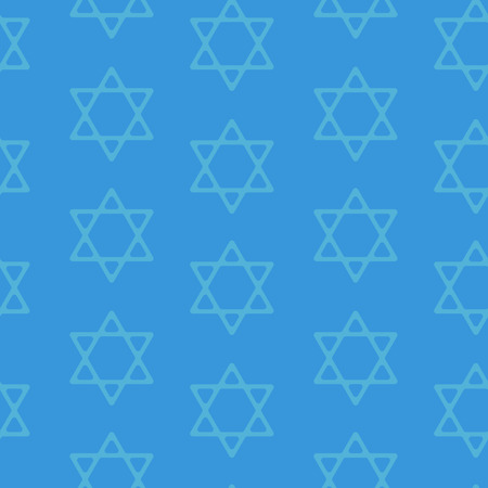 jews: David star seamless pattern background. Blue background. Vector illustration.