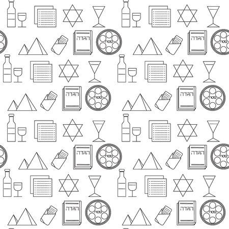 matza: Passover seamless pattern background. Jewish holiday Passover symbols. Black and white background. Vector illustration Illustration