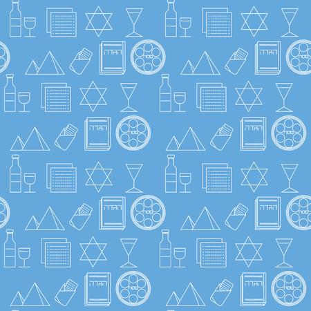 matza: Passover seamless pattern background. Jewish holiday Passover symbols. Blue background. Vector illustration