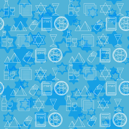 seder: Passover seamless pattern background. Jewish holiday Passover symbols. Blue background. Vector illustration