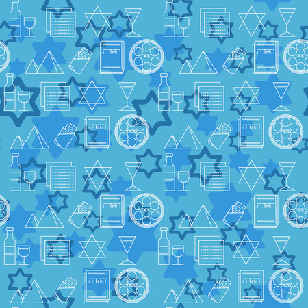 matza: Passover seamless pattern background. Jewish holiday Passover symbols. Blue background. Vector illustration
