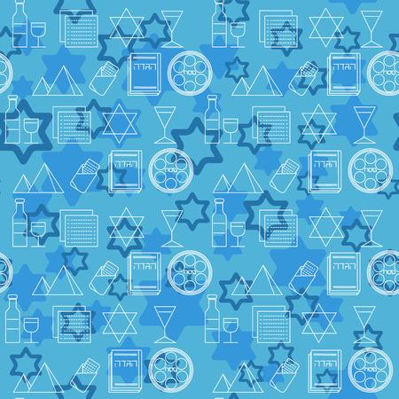 Passover seamless pattern background. Jewish holiday Passover symbols. Blue background. Vector illustration