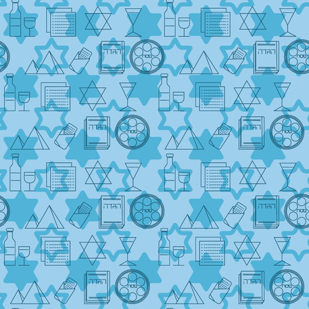 seder plate: Passover seamless pattern background. Jewish holiday Passover symbols. Blue background. Vector illustration