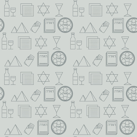seder plate: Passover seamless pattern background. Jewish holiday Passover symbols. Gray background. Vector illustration