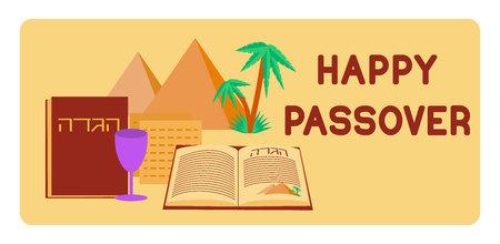 pesaj: fondo de Pascua. Feliz Pascua. fiesta judía de Pesaj fondo. símbolos de la Pascua. ilustración vectorial