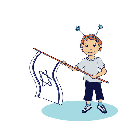 israeli: Boy holding the israeli flags. Vector illustration