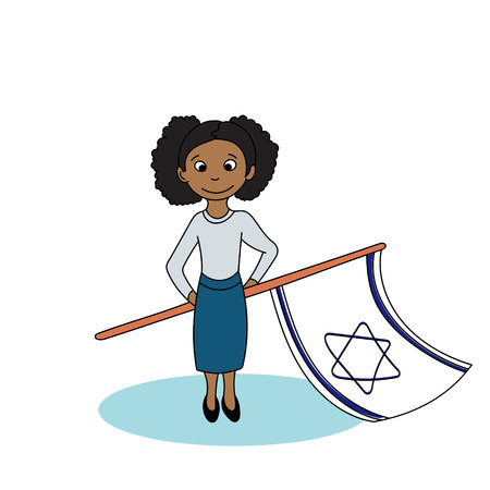 israeli: Girl holding the israeli flags. Vector illustration