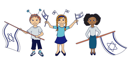 israeli: Children holding the israeli flags. Vector illustration