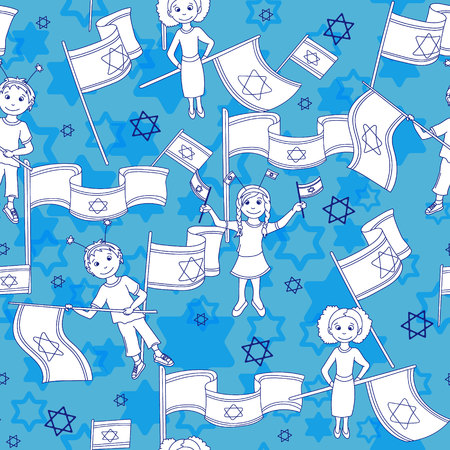 Israel Independence Day seamless pattern. Blue background. Vector illustration.