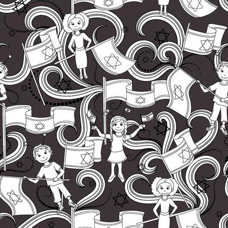 israel people: Israel Independence Day seamless pattern. Black background. Vector illustration.