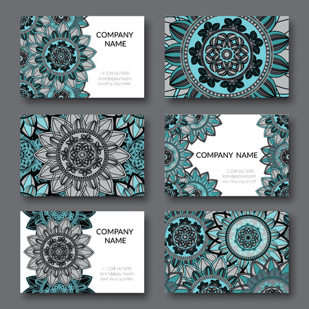 blanc: Vintage business cards set. Ornamental mandala, floral circle decorative elements.  Arabic, islam, indian, turkish, pakistan, ottoman, asian motifs. Business card vector design template. Illustration
