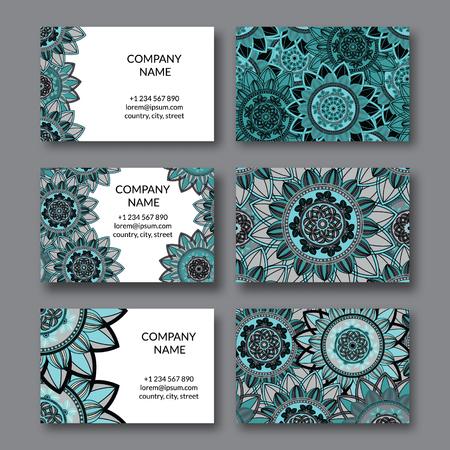 blanc: Vintage business cards set. Ornamental mandala, floral circle decorative elements.  Arabic, indian, turkish, pakistan, ottoman,  motifs. Business card vector design template. Illustration