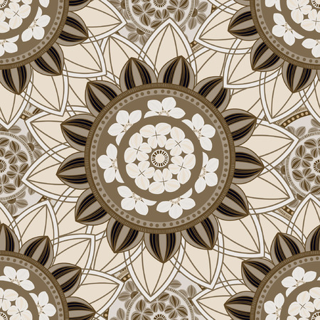 Abstract seamless pattern ornament. Mandala repeat pattern. Vintage background. Vector illustration.