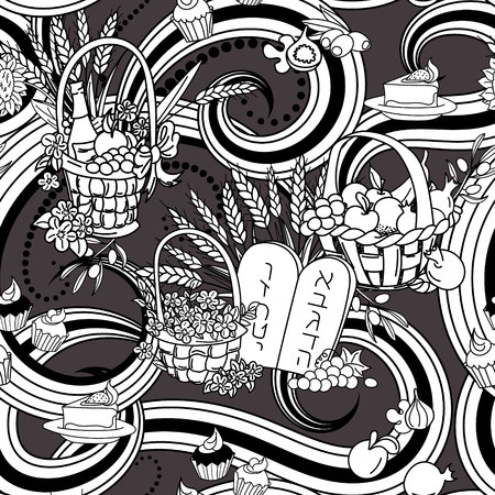 Shavuot seamless pattern background. Shavuot symbols. Black and white coloring page.  Vector illustration