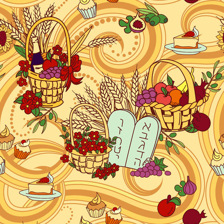 Shavuot seamless pattern background. Shavuot symbols. Vector illustration Vectores